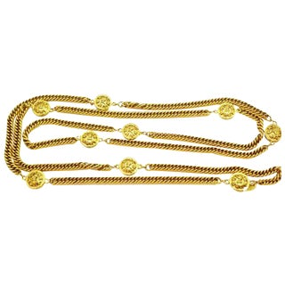 Vintage Chanel Long Leo Charm Necklace