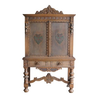 Antique English Style Walnut Cabinet on Stand
