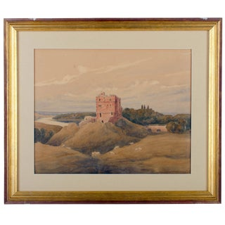 Watercolor of Norham Castle, Northumberland, England