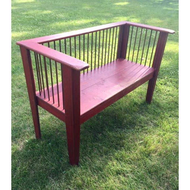 Spindle-Back Red Bench - Image 4 of 11
