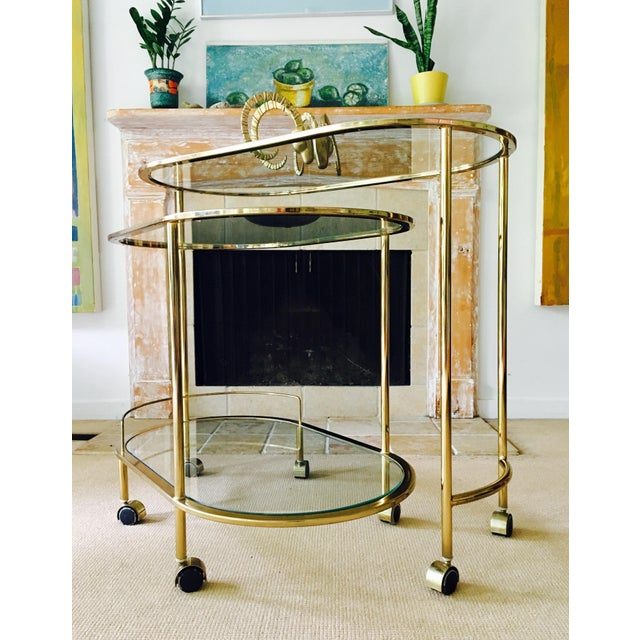 Vintage Triple Tiered Brass Swivel Bar Cart - Image 6 of 11