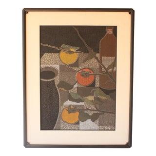Toru Mabuchi Three Persimmons Woodblock Print