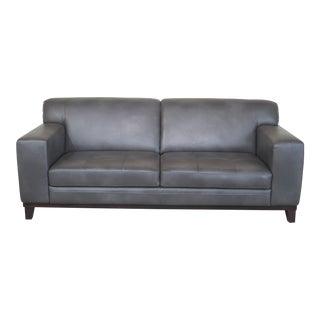 Modern Grey Leather 2 Cushion Sofa
