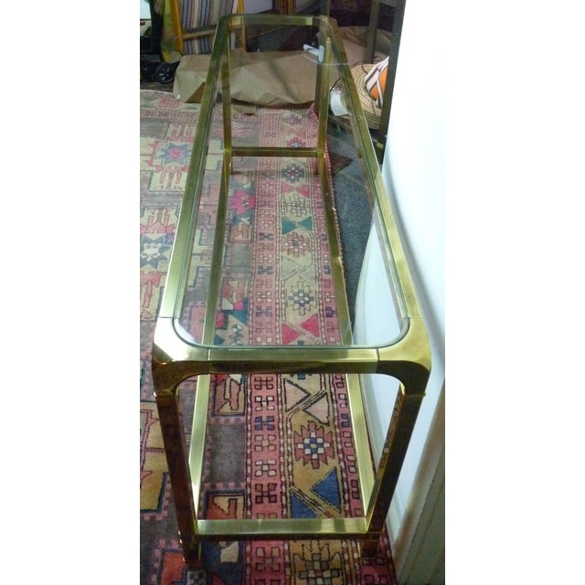 Mastercraft Vintage Brass & Glass Console Table - Image 4 of 11