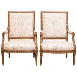 Louis XVI 19th Century Gilded Fauteuils - Pair