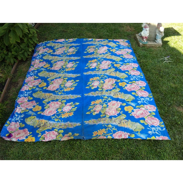 Image of 1950's Floral Peacock Bed Cover