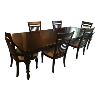 Black Mahogany Dining Leaf Table & 6 Chairs Set