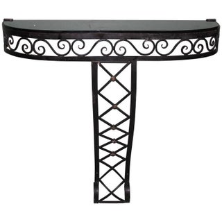 French Art Deco Iron Console Table