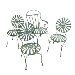 Francois Carre Sunburst French Green Outdoor Garden or Patio Chairs