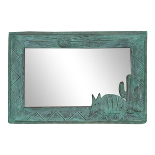 1995 Decorative Copper Wall Mirror by K. Ruby