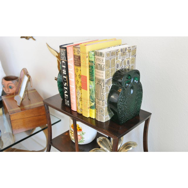 Image of Vintage Blenko Emerald Glass Owl Bookends - A Pair