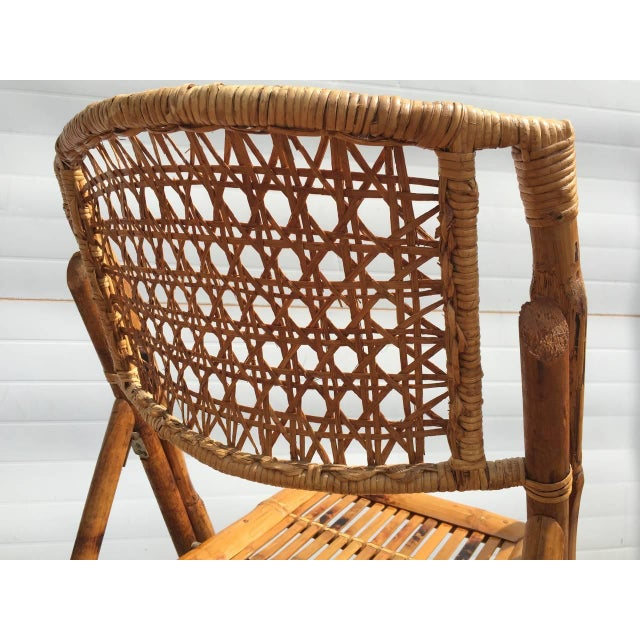 Scorched Bamboo Frame Folding Chairs - Set of Five - Image 8 of 9