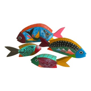 Mid-Century Mexican Oaxaca Carved Wood Hand Painted Folk Art Fish - Set of 4