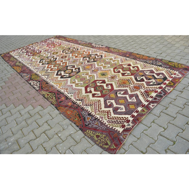 "Hand-Woven Turkish Kilim Rug - 7'2"" x 16'3"" - Image 5 of 11"