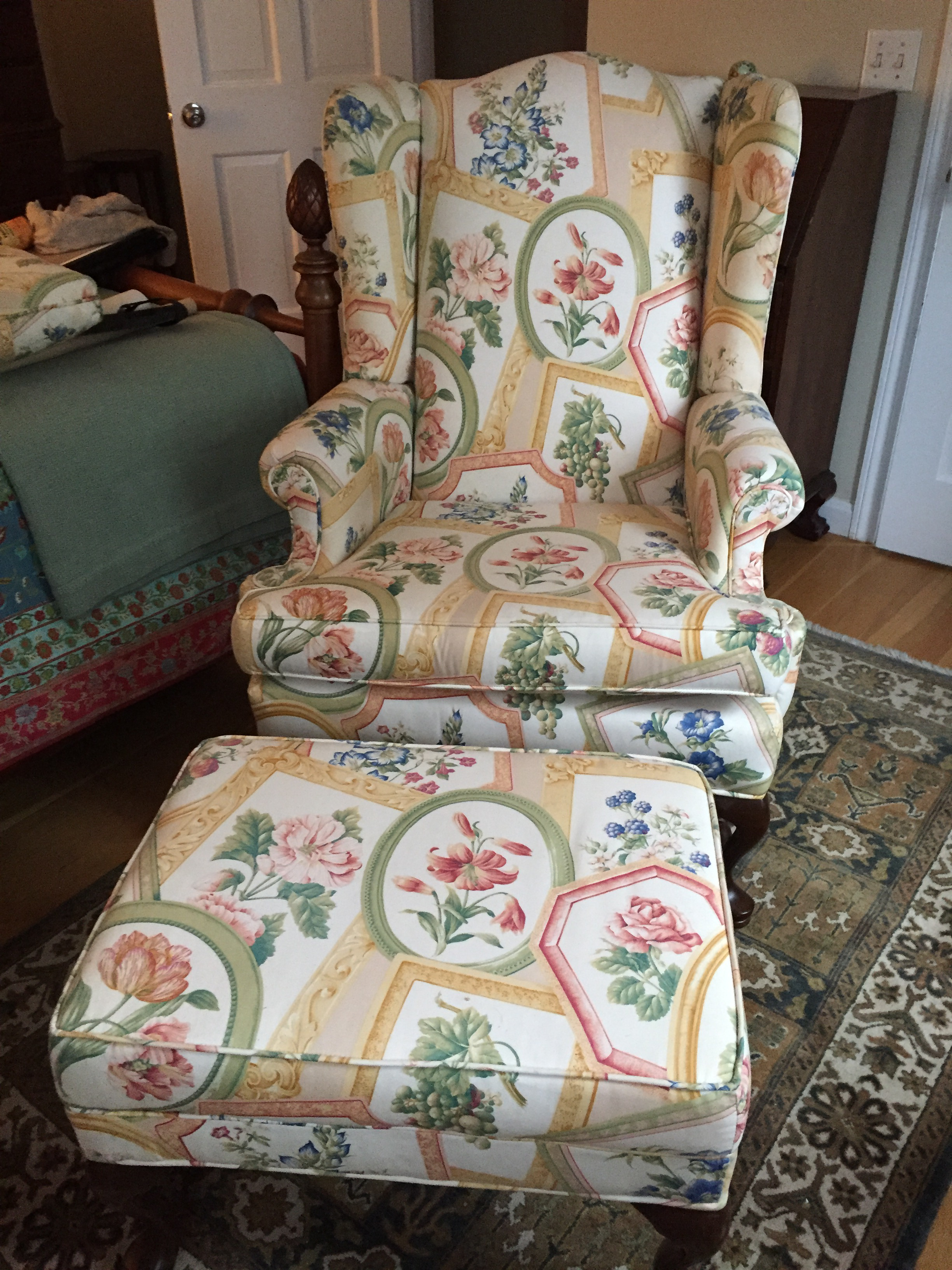 Ethan Allen Queen Anne Wing Chair & Ottoman  Chairish. Laundry Room Hanging Rod. Stand Alone Closet. Basement Storage Cabinets. Stainless Steel Fireplace. Ladder Bookcase Ikea. Cool Bathtubs. Steel Gate. Difference Between Porcelain And Ceramic