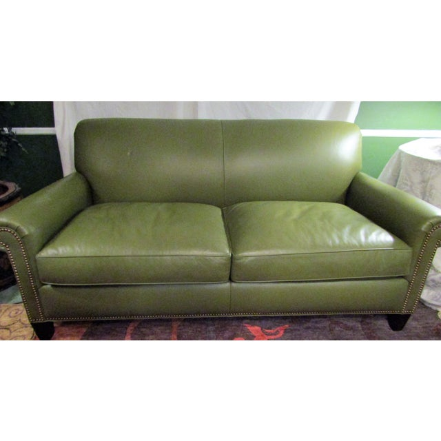 olive green leather sofa by hancock moore chairish. Black Bedroom Furniture Sets. Home Design Ideas