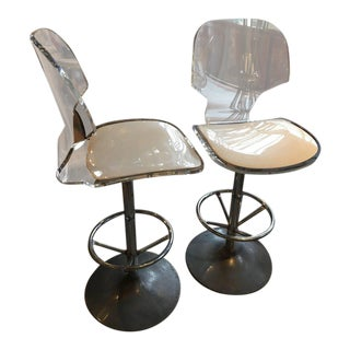 Set of Six Lucite Bar Stools with Aluminum Tulip Base, Hill Manufacturing 1970s