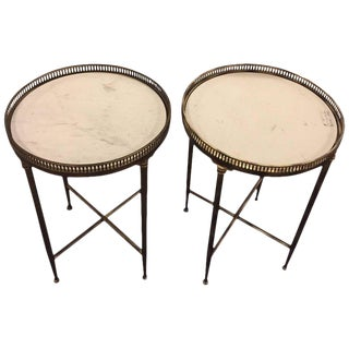 Metal Base Galleried Marble Top Circular End Tables - A Pair