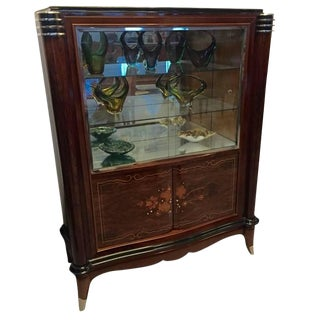 Jules Leleu Style French Art Deco Vitrine Bar or Display Cabinet
