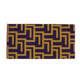 Purple and Gold Mid-Century Modern Rug - 2′4″ × 4′