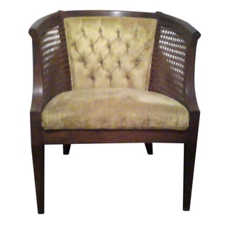 Mid-Century Cane Chairs Gold Tufted Velvet - Pair
