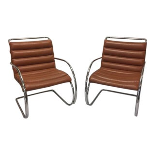 Knoll Mid-Century Edition Mies Van Der Rohe Mr. Lounge Chairs - A Pair