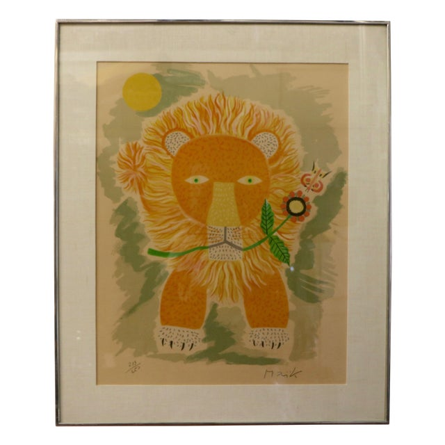 Lion & Butterfly Lithograph by Henri Maik - Image 1 of 7