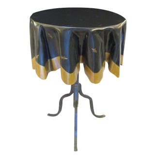 Whimsical French Fiberglass 'Drapery' Table with Iron Tripod Base