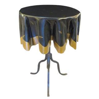 Whimsical French Fiberglass 'Drapery' Table with Iron Tripod Base