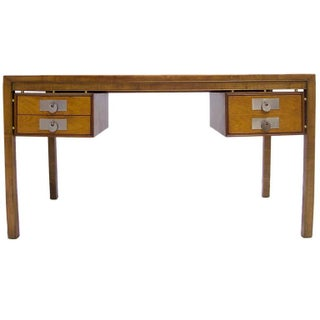 Michael Taylor for Baker Mid-Century Modern Desk in Walnut with Disc Pulls