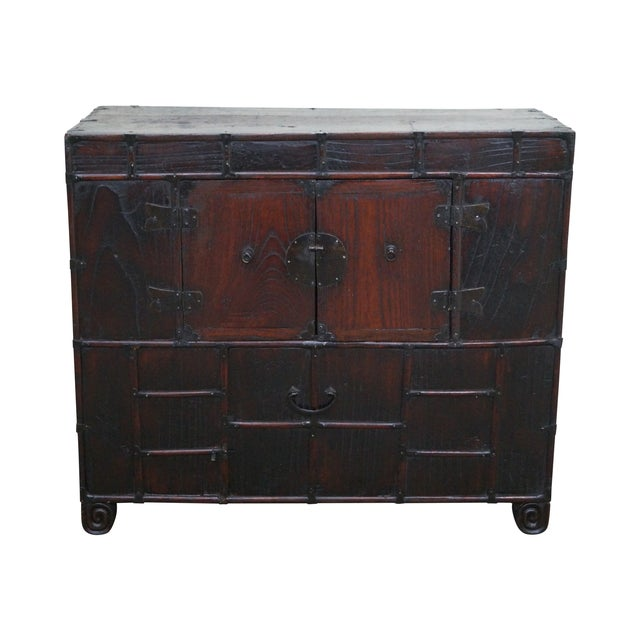Image of Antique Chinese Asian Elm Wood Console Cabinet