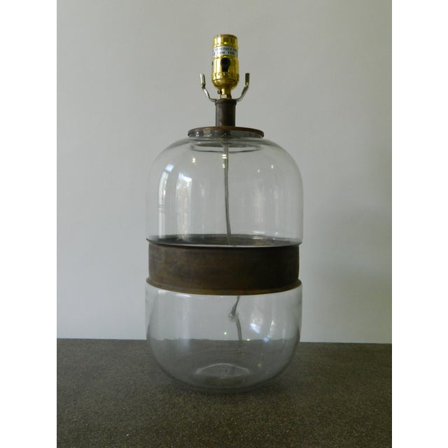 Image of Glass Lamp With Metal Ring