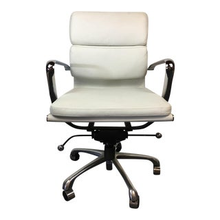 Contemporary Chrome and White Leather Upholstered Office Chair