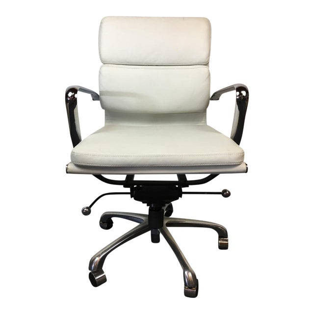 chrome and white leather upholstered office chair chairish