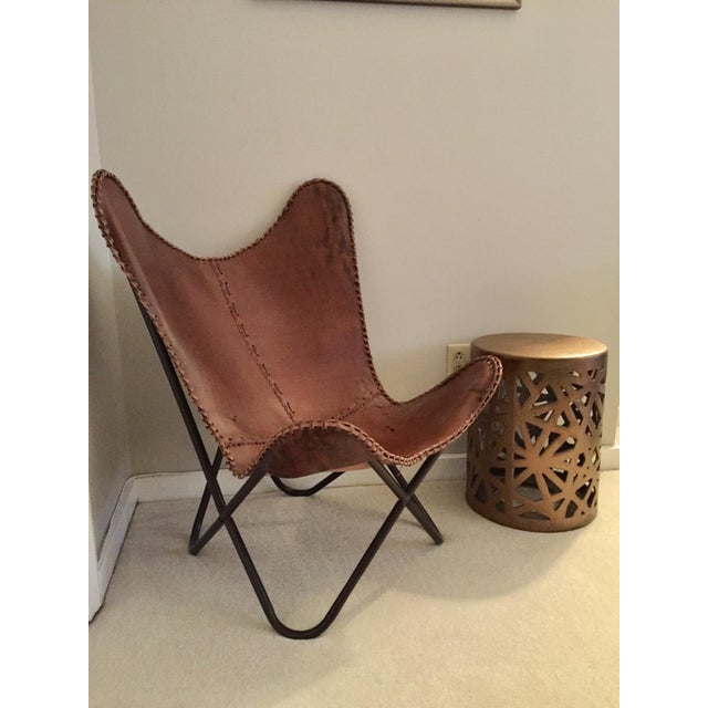 Image of Tan Leather Butterfly Chair