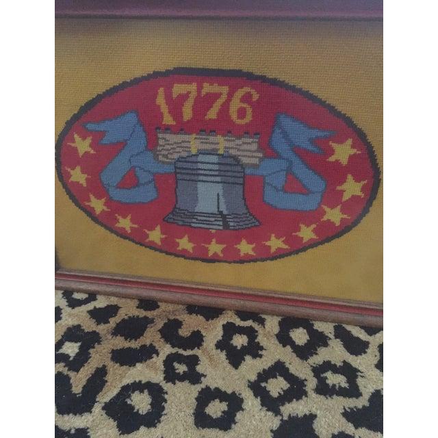 Vintage Americana Liberty Bell 1776 Framed Needlepoint Art - Image 5 of 6