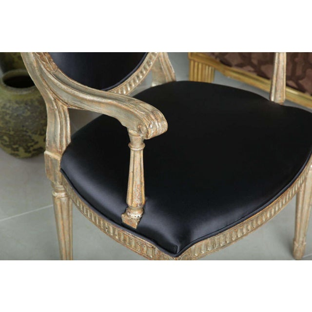 Rare Set of Four Italian Neoclassic Silver Gilt Armchairs - Image 6 of 8