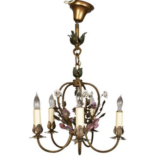 French Five-Light Brass Chandelier With Porcelain Flowers