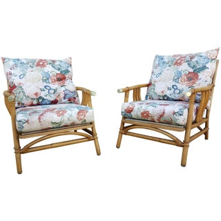 Ficks Reed Rattan Lounge Chairs - Pair