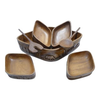 Vintage Carved Wood Serving Bowls & Utensils - S/7