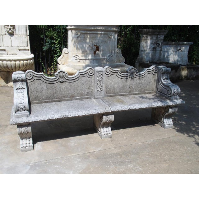 Carved Limestone Garden Bench from Northern Italy - Image 11 of 11