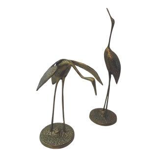 Vintage Regency Style Brass Herons - a Pair