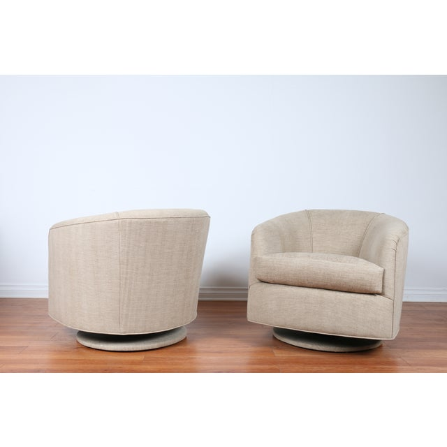 Image of Swivel Hollywood Regency Style Chairs - Pair