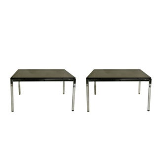 Steelcase Smoky Glass & Chrome End Tables - Pair