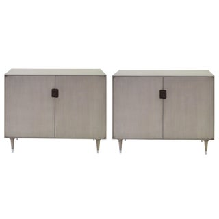 A sleek pair of Danish modern mid-century gray-washed birchwood 2-door console tables