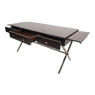"Large Contemporary Modern Chrome ""X"" Base Desk"