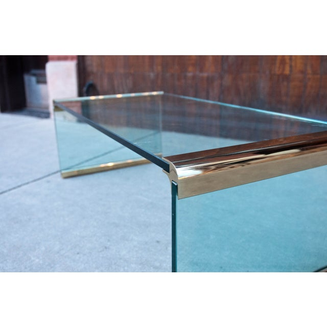Pace Vintage Glass Waterfall Coffee Table Chairish