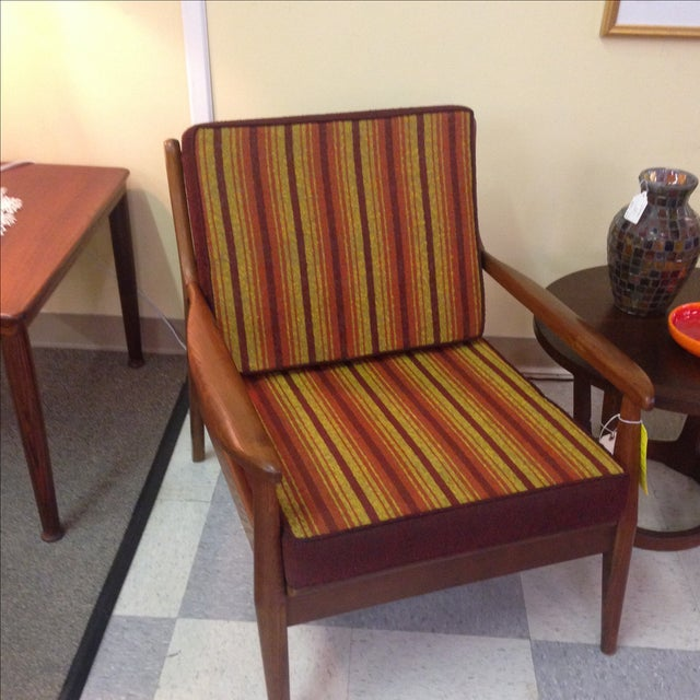 Image of Mid Century Modern Striped Lounge Chair