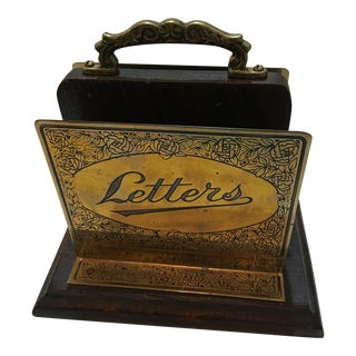 Traditional Brass & Wood Letter Holder