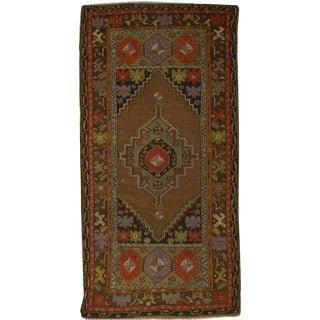 Vintage Hand Knotted Turkish Oushak Rug - 3'8 X 7'5